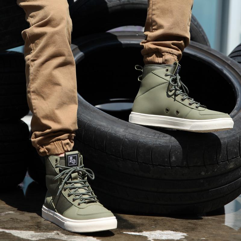 軍旅風--是非軍綠色高幫板鞋 男