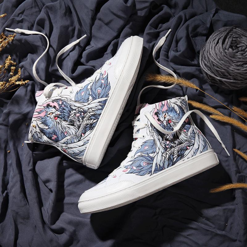 鳳雛 高幫涂鴉帆布鞋 女